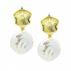 Kolczyki z perłą i cyrkonią srebrne pozłacane wiszące