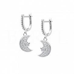 Kolczyki srebrne wiszący księżyc z białą cyrkonią
