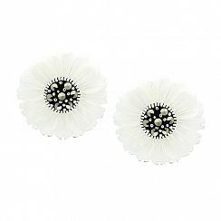 Kolczyki kwiatki z markazytami