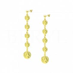 Kolczyki Wiszące Monety Srebro 925 Pozłacane 24 karatowym złotem