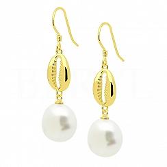 Kolczyki z perłą i muszelką srebrne pozłacane wiszące