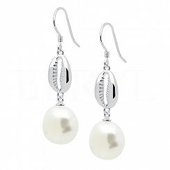 Kolczyki z perłą i muszelką srebrne wiszące