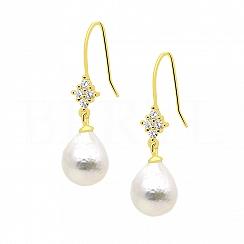 Kolczyki z perłą srebrne pozłacane wiszące z cyrkoniami białymi