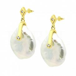 Kolczyki z perłą srebrne pozłacane wiszące i białą cyrkonią