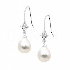 Kolczyki z perłą naturalną srebrne wiszące z cyrkoniami białymi