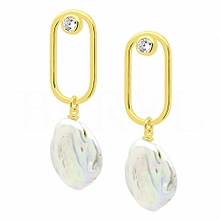 Kolczyki z perłą srebrne pozłacane wiszące geometryczne