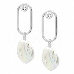 Kolczyki z perłą srebrne wiszące geometryczne
