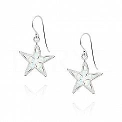Kolczyki srebrne z opalem białym rozgwiazdy