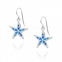 Kolczyki srebrne z opalem niebieskim rozgwiazdy
