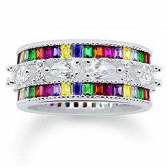 Pierścionek srebrny z kolorowymi i białymi cyrkoniami