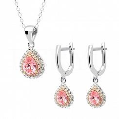 Komplet srebrny z różowymi cyrkoniami - kolczyki z zawieszką