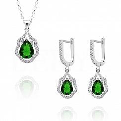 Komplet srebrny z zieloną cyrkonią - kolczyki z zawieszką
