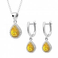 Komplet srebrny z żółtymi cyrkoniami - kolczyki z zawieszką