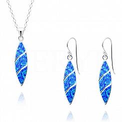 Komplet srebrny z opalem niebieskim wiszący długi - kolczyki z zawieszką
