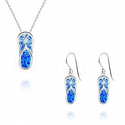 Komplet srebrny z opalem niebieskim klapki - kolczyki z zawieszką