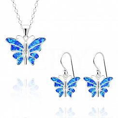 Komplet srebrny z opalem niebieskim motyle - kolczyki z zawieszką
