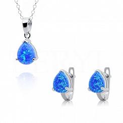 Komplet z opalem niebieskim srebrny - kolczyki z zawieszką
