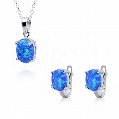 Komplet z opalem niebieskim owalnym srebrny - kolczyki z zawieszką