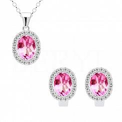 Komplet srebrny z białą i różową cyrkonią elegancki - kolczyki z zawieszką