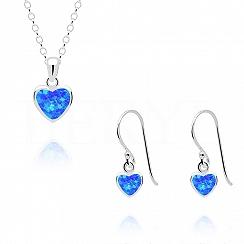 Komplet z opalem niebieskim srebrny serduszka - kolczyki z zawieszką
