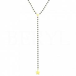 Naszyjnik krawatka srebrny pozłacany z gwiazdką i czarnymi koralikami