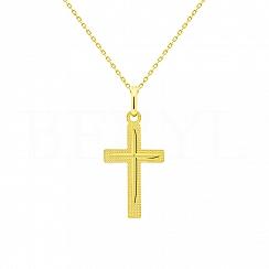 Złoty Krzyżyk Zawieszka Gładka Błyszcząca