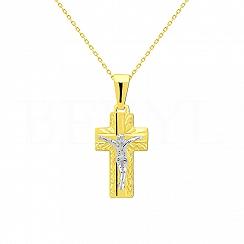 Krzyżyk Złoty z Panem Jezusem Zawieszka Żółte i Białe Złoto