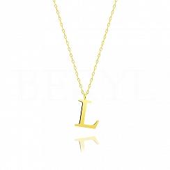 Naszyjnik z literką L srebrny pozłacany 2 cm