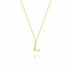 Naszyjnik z literką L srebrny pozłacany 1 cm