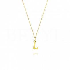 Naszyjnik złoty z literką L 1cm, łańcuszek ankier regulowany