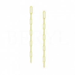 Kolczyki Długie Wiszące Łańcuszki Ankier Srebro 925 Pozłacane 24 karatowym złotem
