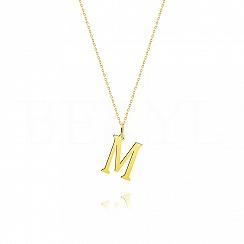 Naszyjnik złoty z literką M 2cm, łańcuszek ankier regulowany