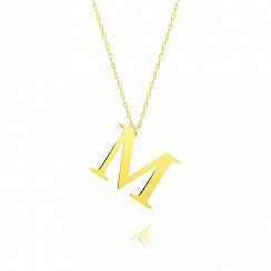 Naszyjnik z literką M srebrny pozłacany 3 cm