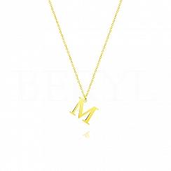 Naszyjnik z literką M srebrny pozłacany 1 cm