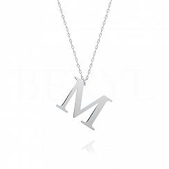 Naszyjnik z literką M srebrny 3 cm
