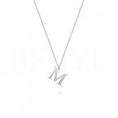 Naszyjnik z literką M srebrny 1 cm