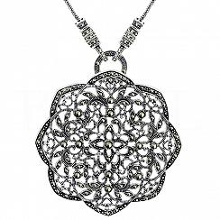 Naszyjnik kwiat z markazytami srebrny duży