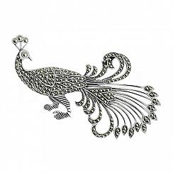 Broszka paw z markazytami srebrna unikatowa