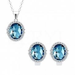 Komplet z topazem london blue srebrny z białymi cyrkoniami