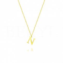 Naszyjnik z literką N srebrny pozłacany 1 cm