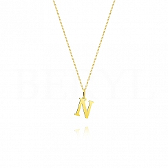 Naszyjnik złoty z literką N 1cm, łańcuszek ankier regulowany