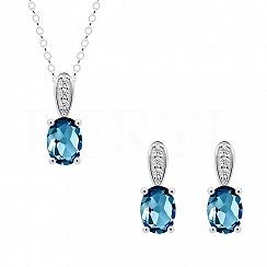 Komplet z topazem london blue srebrny z cyrkonią