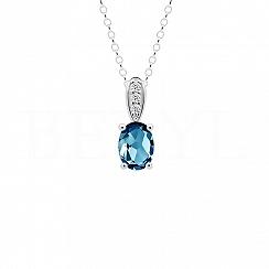 Zawieszka z topazem london blue srebrna z białą cyrkonią