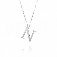 Naszyjnik z literką N srebrny 3 cm