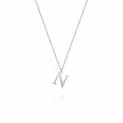 Naszyjnik z literką N srebrny 1 cm