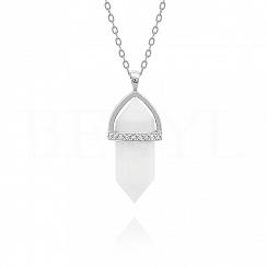 Naszyjnik srebrny z białym agatem