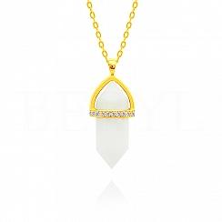 Naszyjnik srebrny pozłacany z białym agatem