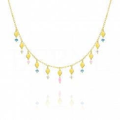 Choker na szyję srebrny pozłacany z kółeczkami i kolorowymi kryształkami