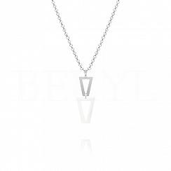 Naszyjnik srebrny wiszące trójkąty z białą emalią