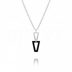 Naszyjnik srebrny wiszące trójkąty z czarną emalią